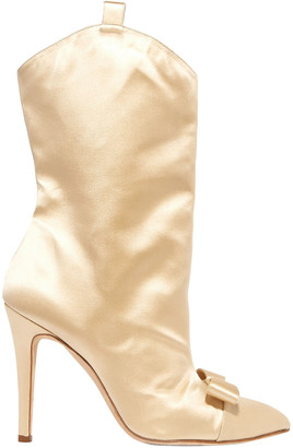 Alessandra Rich Bow-embellished Satin Ankle Boots