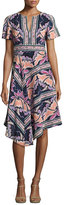 Nanette Lepore Short-Sleeve Asymmetric Printed Silk Dress, Black/Multicolor