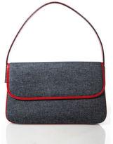 Dolce & Gabbana Blue Denim Silver Tone Red Leather Trim Accordion Handbag