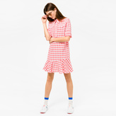 Paul Smith Women's Coral And White Gingham Shirt-Dress