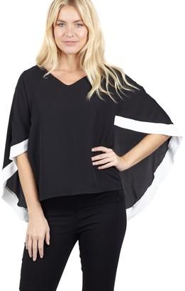 M&Co Izabel contrast hem cape blouse
