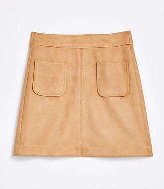 LOFT Tall Faux Suede Pocket Shift Skirt