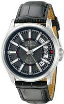 Lucien Piccard men's Quartz Watch with Black Dial Analogue Display and Black Leather Strap LP-40025-01