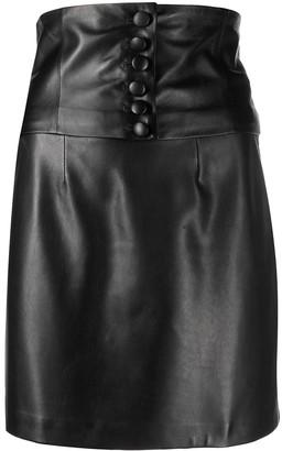 FEDERICA TOSI Corset Panel Leather Mini Skirt