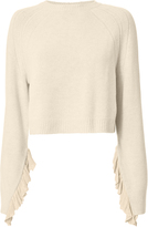 Helmut Lang Cropped Ruffle Pullover Sweater Beige/Khaki M