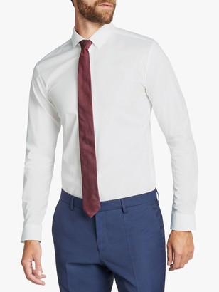 HUGO BOSS HUGO by Eldred Zip Placket Extra Slim Shirt, White