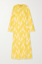 Thumbnail for your product : Dodo Bar Or Ally Open-back Intarsia-knit Midi Dress - Yellow