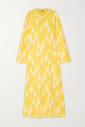 Dodo Bar Or Ally Open-back Intarsia-knit Midi Dress - Yellow