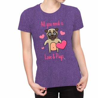 1Tee Womens All You Need is Love and Pugs Dog T-Shirt Heather Purple Large