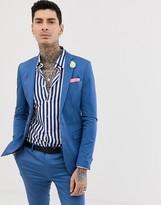 Devils Advocate super skinny plain cotton sateen stretch suit jacket