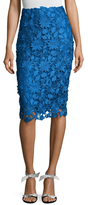 Monique Lhuillier Floral Lace Pencil Skirt