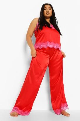 boohoo Plus Eyelash Trim Contrast Cami & Trouser Set