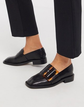 ASOS DESIGN Millicent premium leather square toe buckle loafer in black