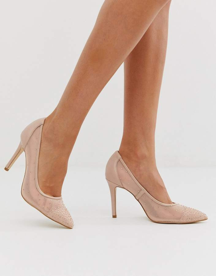 2c5ca651075 mesh pointed court heel with diamante detail in blush
