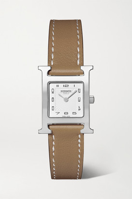HERMÈS TIMEPIECES Heure H 21mm Small Stainless Steel And Leather Watch - Taupe