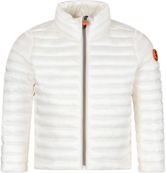 Save The Duck White Girl Jacket With Iconic Logo