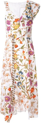 Peter Pilotto Asymmetric Waffle Floral Dress
