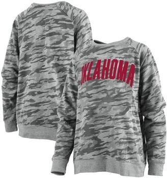 Unbranded Women's Pressbox Camo Oklahoma Sooners Gulfport French Terry Raglan Pullover Sweatshirt