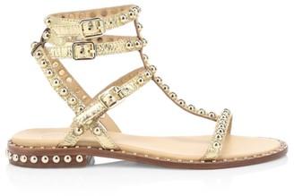Ash Play Studded Metallic Leather Gladiator Sandals