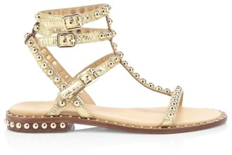 Ash Play Studded Metallic Leather Gladiator Sandals