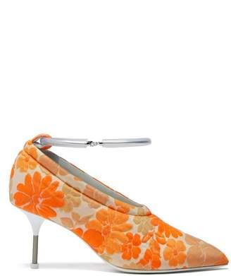 Jil Sander Floral Brocade Pumps - Womens - Orange Multi