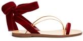 Valentino Velvet Flat Sandals - Red