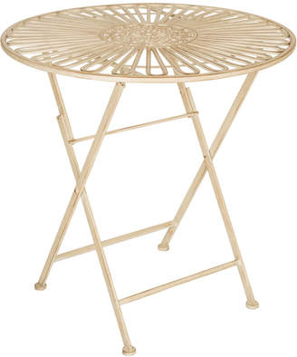Glitz Home 28In Metal Antique White Patio Folding Table