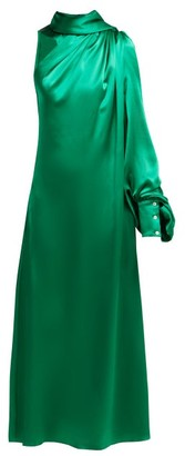 Hillier Bartley One-shoulder Gathered Silk-satin Dress - Green