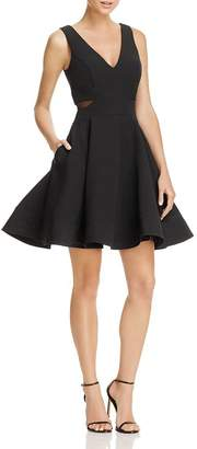 Aqua Mesh-Side Fit-and-Flare Dress - 100% Exclusive