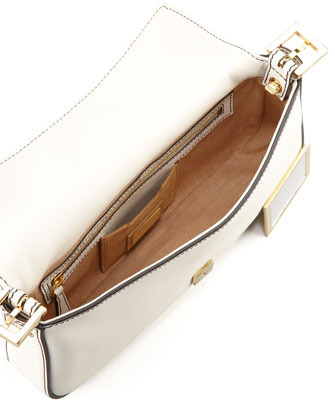Fendi Leather Baguette with Interchangeable Straps, White
