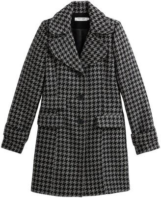 Naf Naf Long Mid-Season Coat in Houndstooth Check