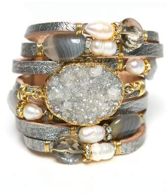Styles Boutique Leather Druzy Cuff