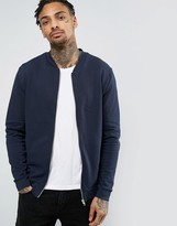 Asos Jersey Bomber Jacket In Navy