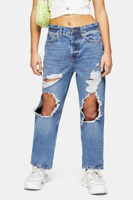 Topshop Womens Petite Mid Blue Ripped Dad Jeans - Mid Stone