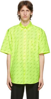 Balenciaga Yellow All Over Logo Short Sleeve Shirt