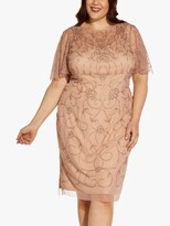 Thumbnail for your product : Adrianna Papell Size Floral Embroidered Mesh Dress, Rose Gold