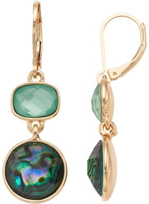 Dana Buchman Green Simulated Abalone Geometric Drop Earrings