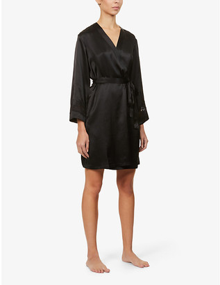 Nk Imode Morgan floral lace-trimmed silk robe