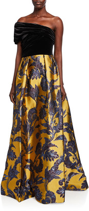 Couture Theia One-Shoulder Velvet Bodice & Silk Lame Jacquard Skirt Gown