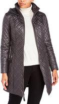 Via Spiga Hooded Zip-Front Quilted Jacket