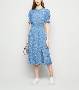 New Look Ditsy Floral Split Hem Shirred Midi Dress