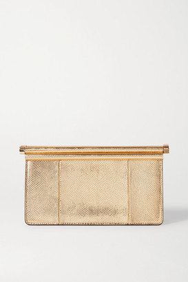Valentino Carry Secrets Metallic Snake-effect Leather Clutch - Gold