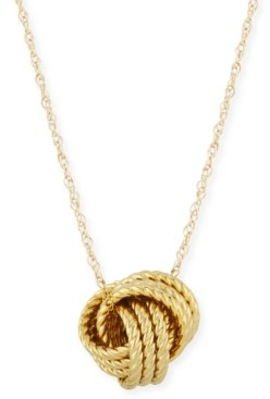 Macy's Rope Love Knot Necklace in 14k Yellow Gold