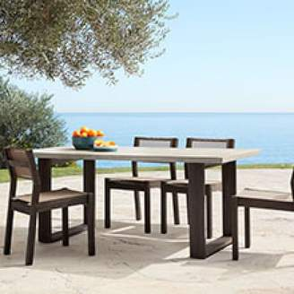 west elm Concrete Outdoor Dining Table + Portside Textilene Chairs Set - Weathered Café