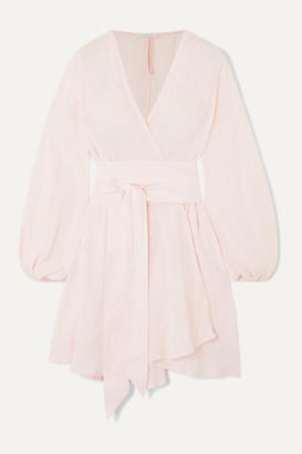 Kalita Gaia Cotton-gauze Wrap Mini Dress - Blush