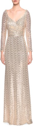 La Femme Long Sleeve Sequin Trumpet Gown