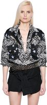 Faith Connexion Star & Zebra Printed Silk Bodysuit