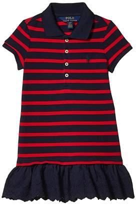 Polo Ralph Lauren Eyelet Stretch Mesh Polo Dress (Toddler)