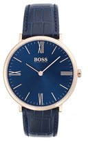 BOSS Men's Ultra Slim Leather Strap Watch, 40Mm