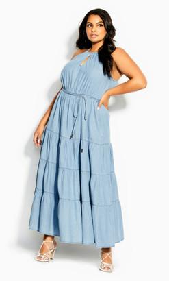 City Chic Hamptons Tier Maxi Dress - denim